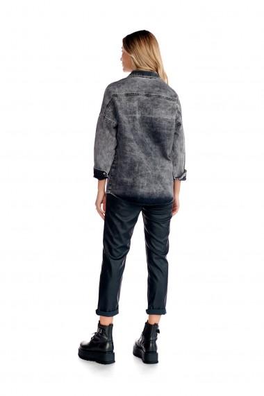 Jacheta casual Fashion Loft din denim cu buzunare culoarea neagra