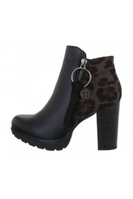 Botine dama model animal print, negre