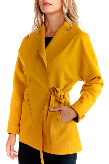 Trenci Fashion Loft culoarea mustar cu buzunare si cordon