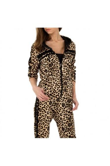 Trening dama, animal print, bluza cu fermoar