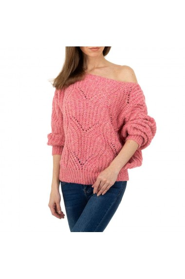Pullover dama tricotat, decolteu larg, roz
