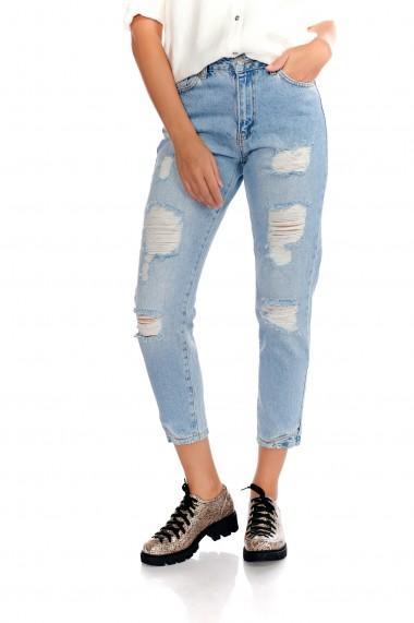 Pantaloni albastri Fashion Loft casual denim cu rupturi decorative