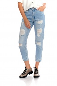 Pantaloni albastri Fashion Loft casual denim cu rupturi decorative