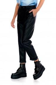 Pantaloni largi negri casual Fashion Loft din piele ecologica cu elastic si siret in talie
