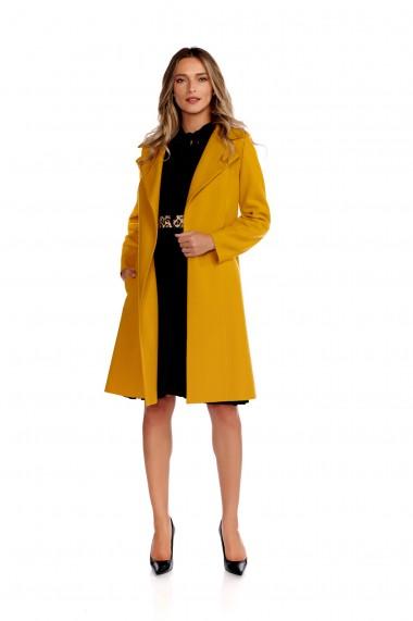 Palton elegant din stofa fina Fashion Loft culoarea mustar cordon in talie