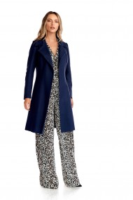 Palton elegant Fashion Loft din stofa fina culoarea bleumarin cordon in talie