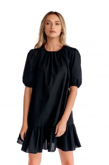 Rochie casual Fashion Loft, scurta din bumbac culoarea neagra
