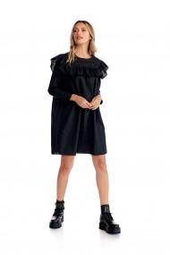 Rochie casual Fashion Loft maneci lungi volane fata spate culoarea neagra