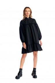 Rochie casual Fashion Loft scurta cu maneci lungi volane culoarea neagra