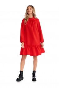 Rochie casual Fashion Loft cu maneci lungi volane culoarea rosie
