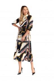 Rochie eleganta Fashion Loft lunga maneci decolteu la baza gatului negru/multicolor