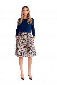 Rochie eleganta Fashion Loft bleumarin/auriu cu maneci si buzunare laterale