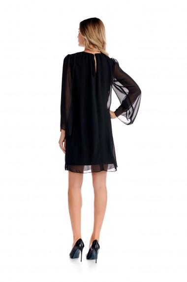 Rochie eleganta Fashion Loft, neagra din voal fin cu maneci
