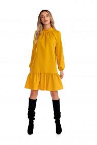 Rochie casual Fashion Loft cu maneci si volane culoarea mustar