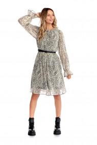 Rochie animal print Fashion Loft, din voal creponat curea talie crem,negru