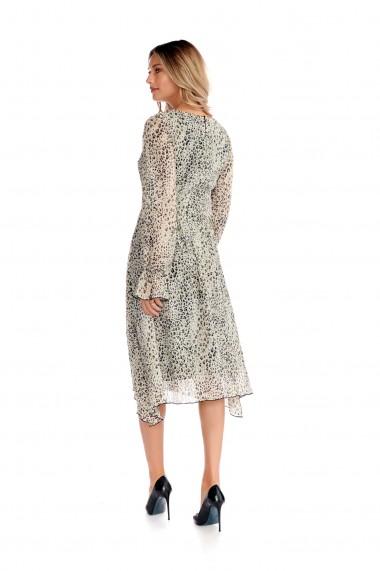 Rochie midi Fashion Loft animal print cu maneci lungi bufante