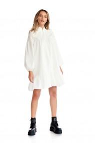 Rochie casual Fashion Loft cu maneci lungi volane culoarea ivory