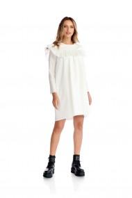 Rochie casual Fashion Loft maneci lungi volane fata spate culoarea alba