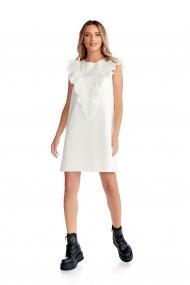 Rochie scurta Fashion Loft din bumbac maneci lungi model cu volane ivory