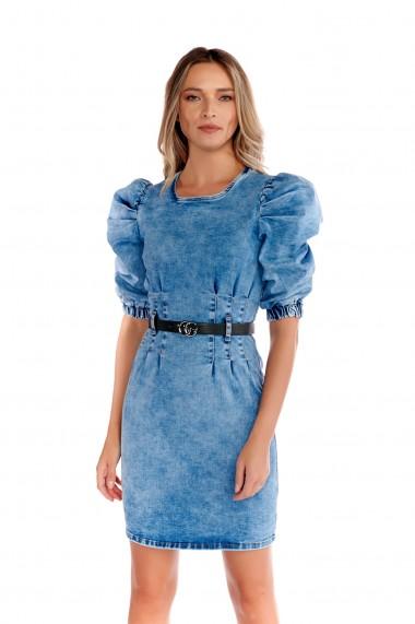 Rochie din denim Fashion Loft maneci bufante curea in talie albastra