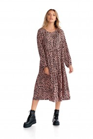 Rochie lunga Fashion Loft animal print volane maneci lungi