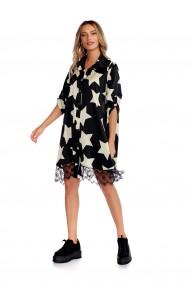 Rochie tip camasa Fashion Loft inchidere cu nasturi maneci ajustabile neagra