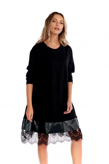Rochie midi Fashion Loft maneci lungi dantela chantilly neagra