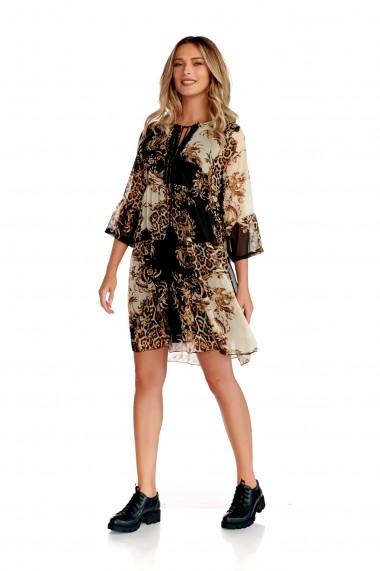 Rochie scurta Fashion Loft maneci cu volane decolteu stilizat legat cu snur