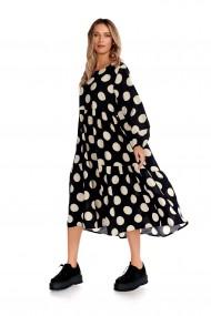 Rochie cu buline Fashion Loft vaporoasa maneci neagra