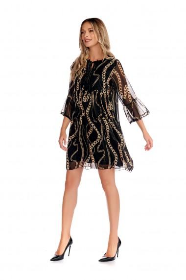 Rochie scurta Fashion Loft maneci cu volane decolteu stilizat neagra cu accente aurii