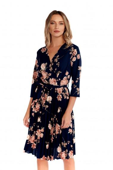 Rochie imprimeu floral Fashion Loft scurta fusta plisata cordon talie bleumarin