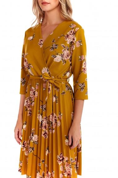 Rochie imprimeu floral Fashion Loft scurta fusta plisata cordon talie