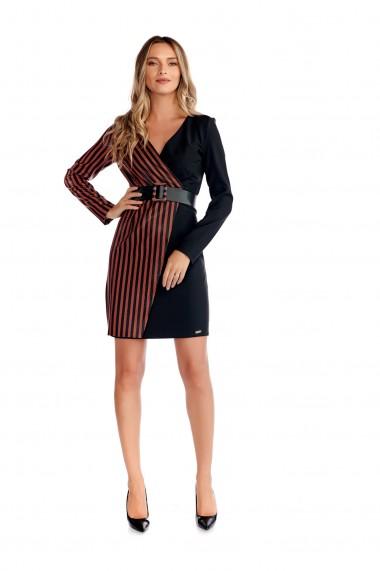 Rochie eleganta Fashion Loft scurta cu maneci bust in V petrecut culoarea neagra