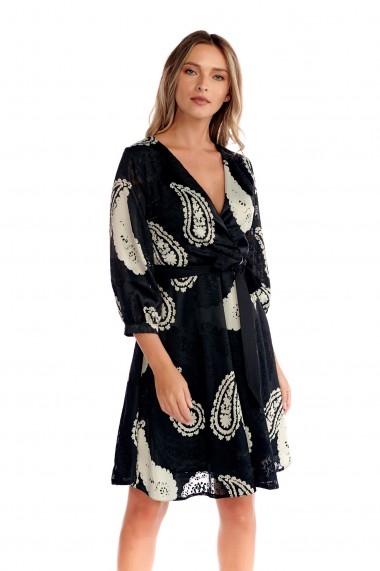 Rochie eleganta Fashion Loft cordon in talie inchidere fermoar ascuns fusta clos