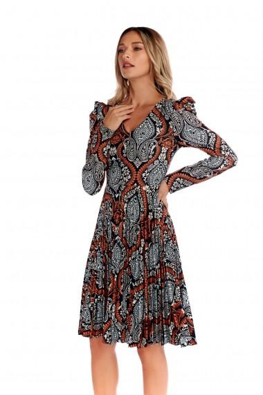Rochie de ocazie Fashion Loft umeri bufanti maneci lungiculoarea caramiziu