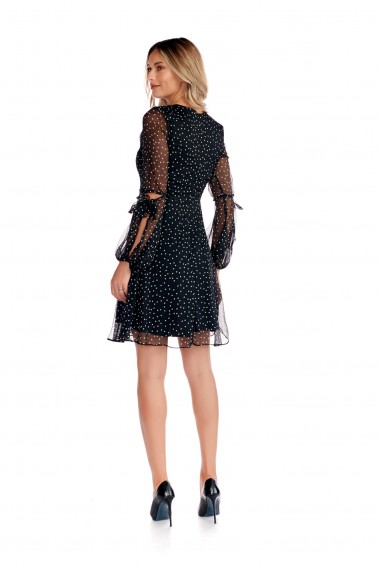 Rochie cu buline Fashion Loft maneci bufante funda la baza gatului fermoar ascuns