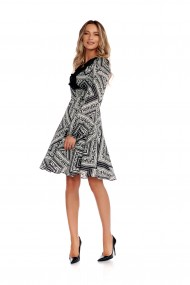 Rochie scurta Fashion Loft petrecuta pe talie maneci lungi culoarea alb,negru