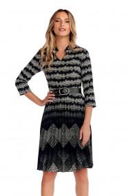 Rochie office Fashion Loft curea in talie fusta plisata negru si alb
