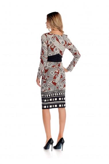 Rochie office Fashion Loft midi maneci lungi brau stilizat fix cambrata