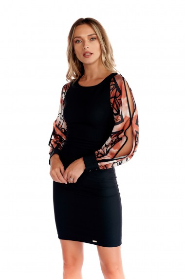 Rochie eleganta Fashion Loft maneci bufante fermoar culoarea neagra