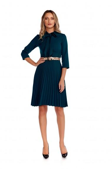 Rochie eleganta Fashion Loft fusta plisata curea talie culoarea verde