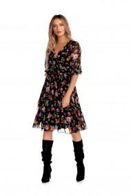 Rochie midi Fashion Loft eleganta imprimeu floral cu maneci