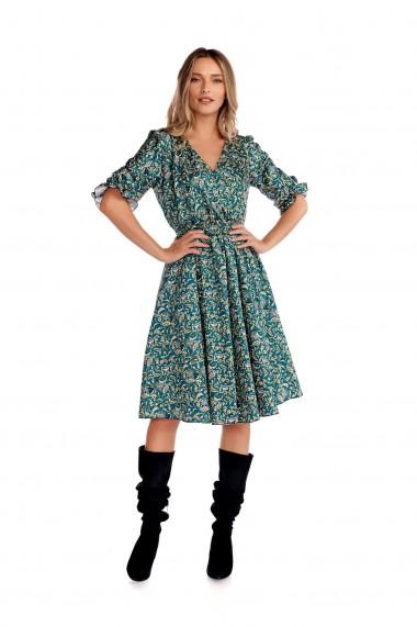 Rochie midi Fashion Loft cu maneci decolteu in V maneci verde floral