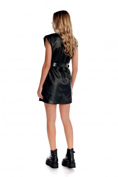Rochie din piele ecologica Fashion Loft scurta curea pe talie neagra