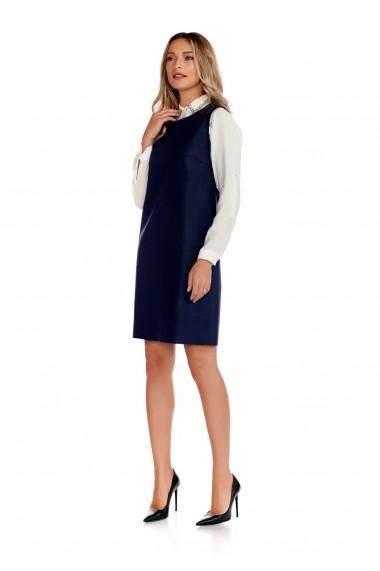 Rochie din stofa fina Fashion Loft inchidere fermoar bleumarin