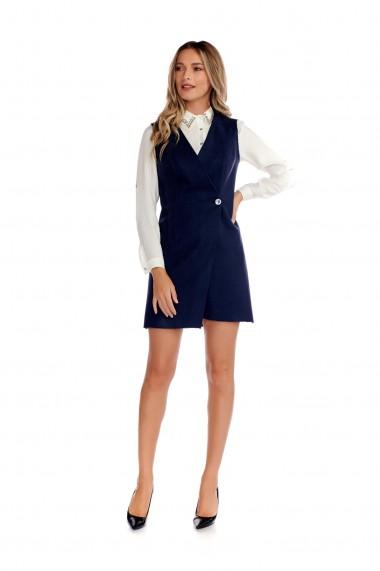 Rochie office Fashion Loft din stofa nasture lateral bleumarin