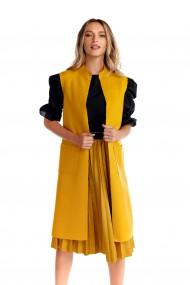 Vesta eleganta Fashion Loft din stofa cu buzunare culoarea mustar