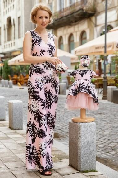 Set botez, salopeta mama, rochie fetita, FamilyFashion, Romance, roz cu palmieri