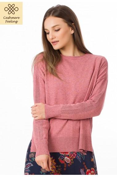 Pulover Sense din lana si casmir Andra roz
