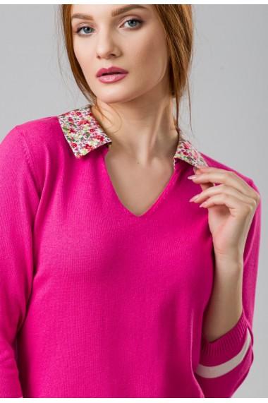 Bluza Sense tricotata Flower fuxia+ecru